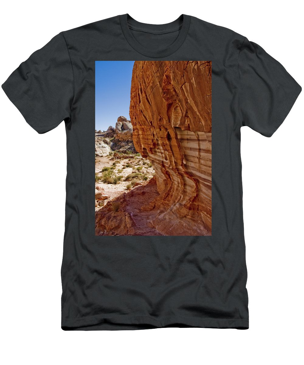 Sandstone Texture Men's T-Shirt (Athletic Fit) featuring the photograph Sandstone Texture by Chris Brannen