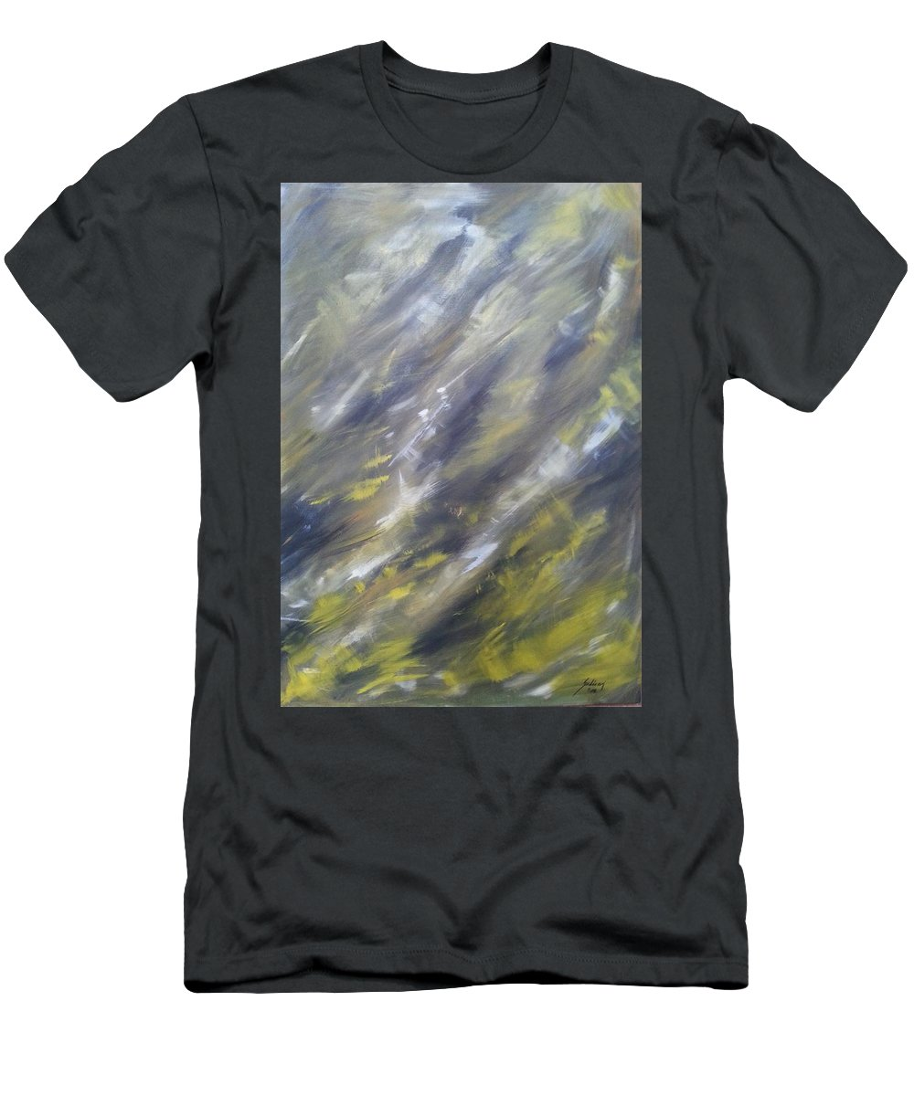 Abstract Men's T-Shirt (Athletic Fit) featuring the painting Sandstorm Coming by Judit Szalanczi