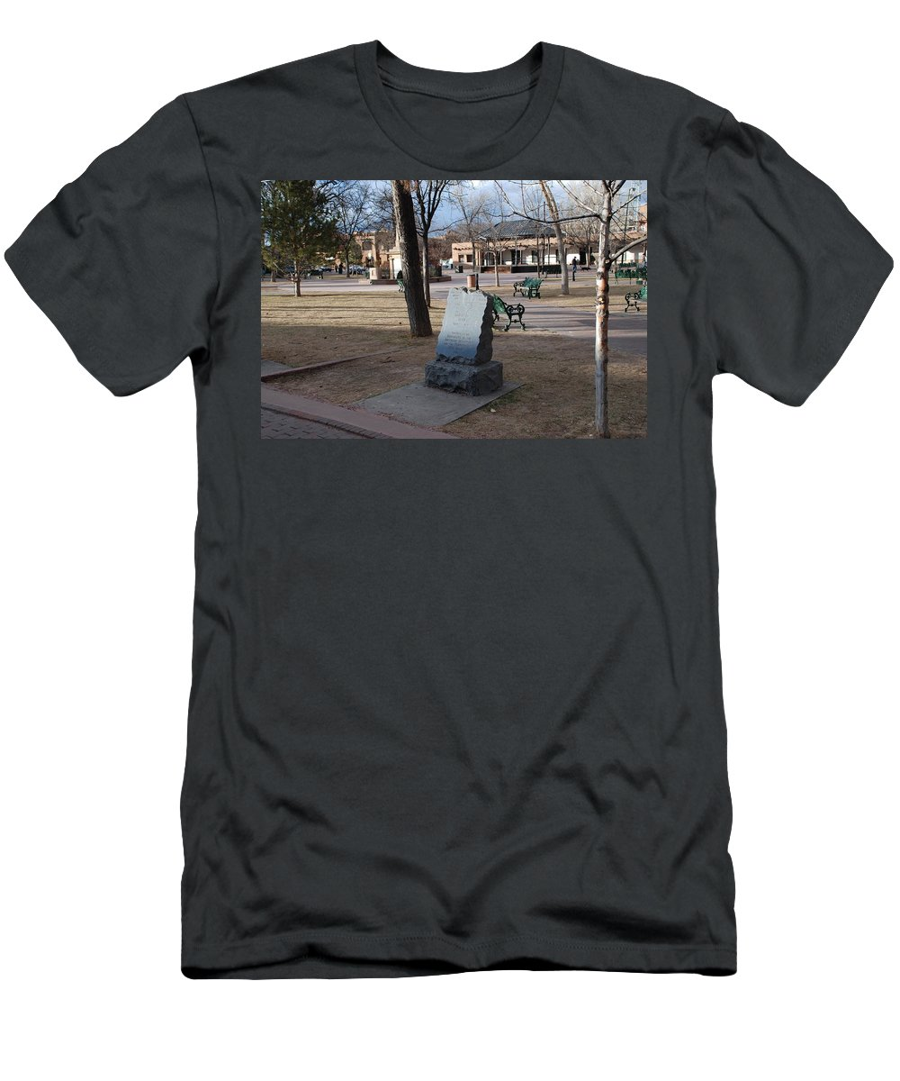 Parks Men's T-Shirt (Athletic Fit) featuring the photograph Santa Fe Trail Marker by Rob Hans