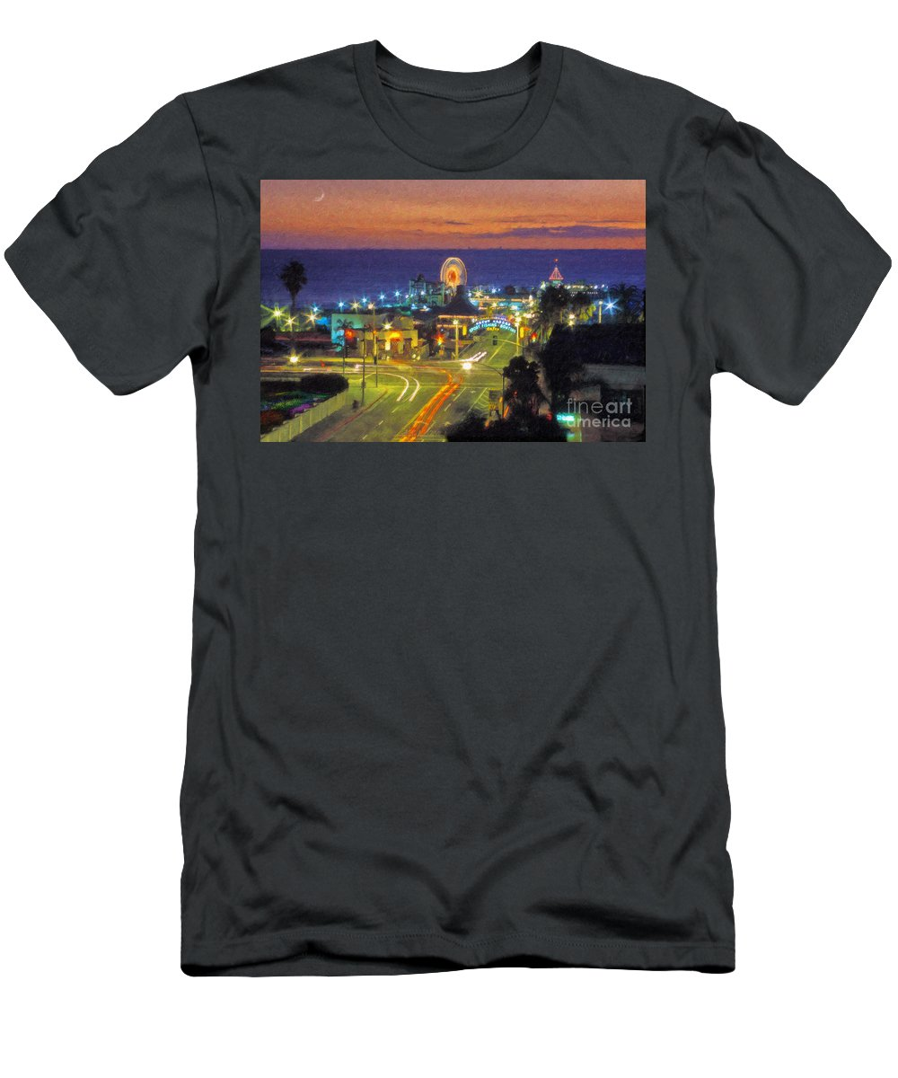 Santa Monica Men's T-Shirt (Athletic Fit) featuring the photograph Santa Monica Ca Pacific Park Pier by David Zanzinger