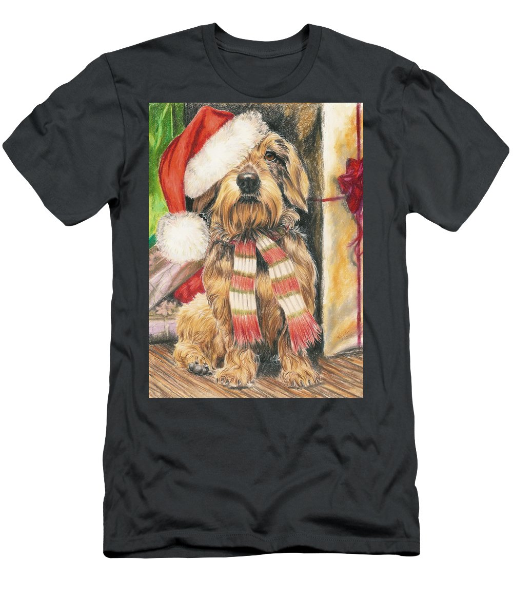 Hound Group Men's T-Shirt (Athletic Fit) featuring the drawing Santas Little Yelper by Barbara Keith