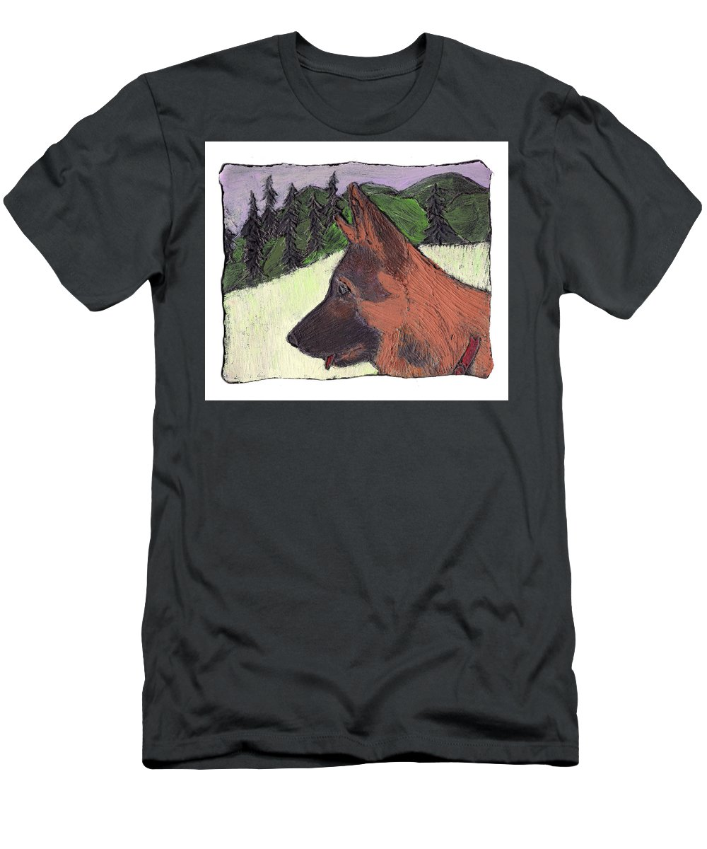 Dog Men's T-Shirt (Athletic Fit) featuring the painting Sarge by Wayne Potrafka