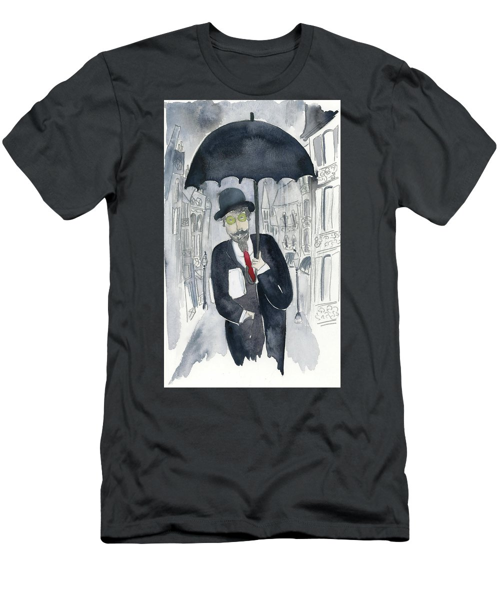 Men's T-Shirt (Athletic Fit) featuring the painting Satie Walking In The Rain by Claud Brown