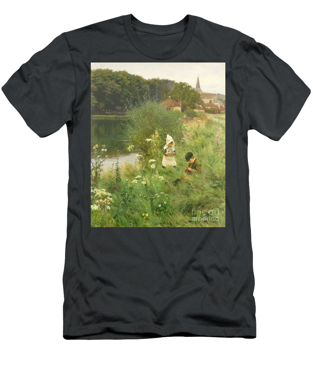 Saturday Men's T-Shirt (Athletic Fit) featuring the painting Saturday Afternoon by Gunning King