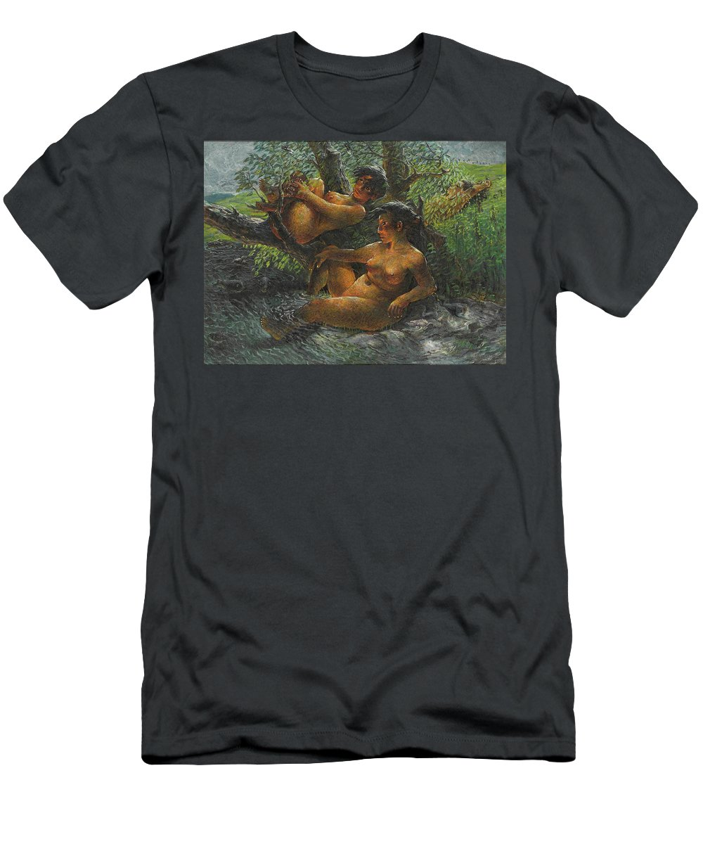 Luo Zhongli Men's T-Shirt (Athletic Fit) featuring the painting Savage Oil Painting Naked Female by Luo Zhongli