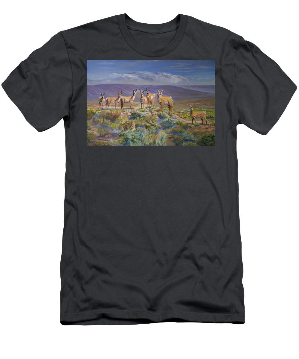 Antelope Men's T-Shirt (Athletic Fit) featuring the painting Say Cheese Antelope by Heather Coen