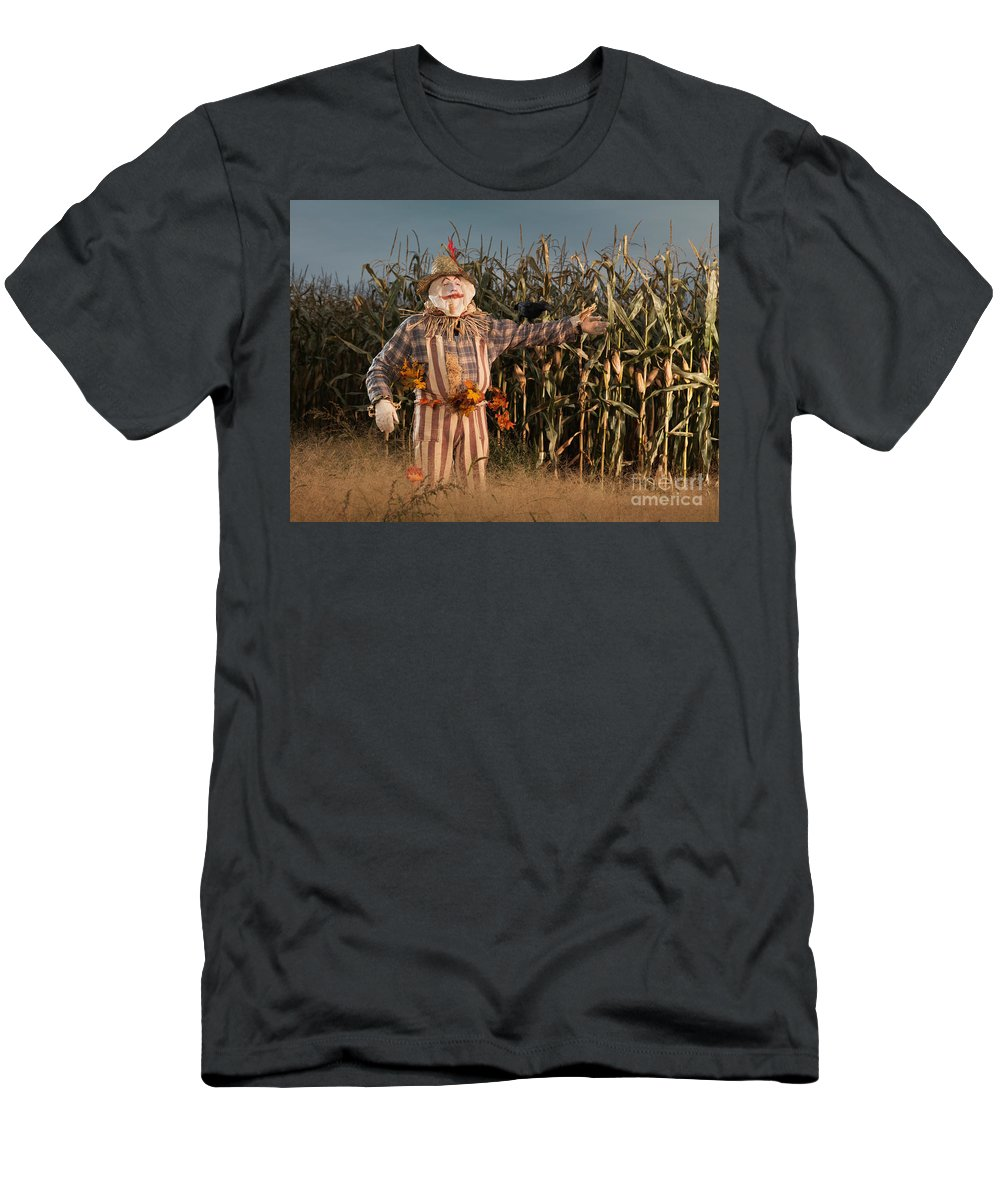 Scarecrow Men's T-Shirt (Athletic Fit) featuring the photograph Scarecrow In A Corn Field by Oleksiy Maksymenko
