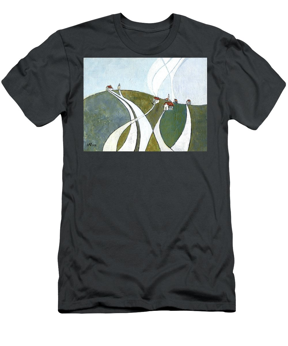 Painting Men's T-Shirt (Athletic Fit) featuring the painting Scattered Houses by Aniko Hencz