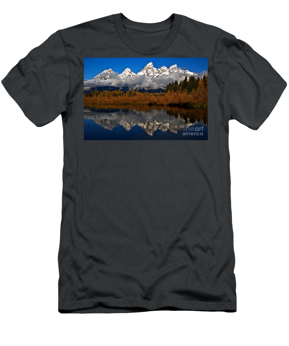 Gtnp Men's T-Shirt (Athletic Fit) featuring the photograph Scenic Teton Fall Reflections by Adam Jewell