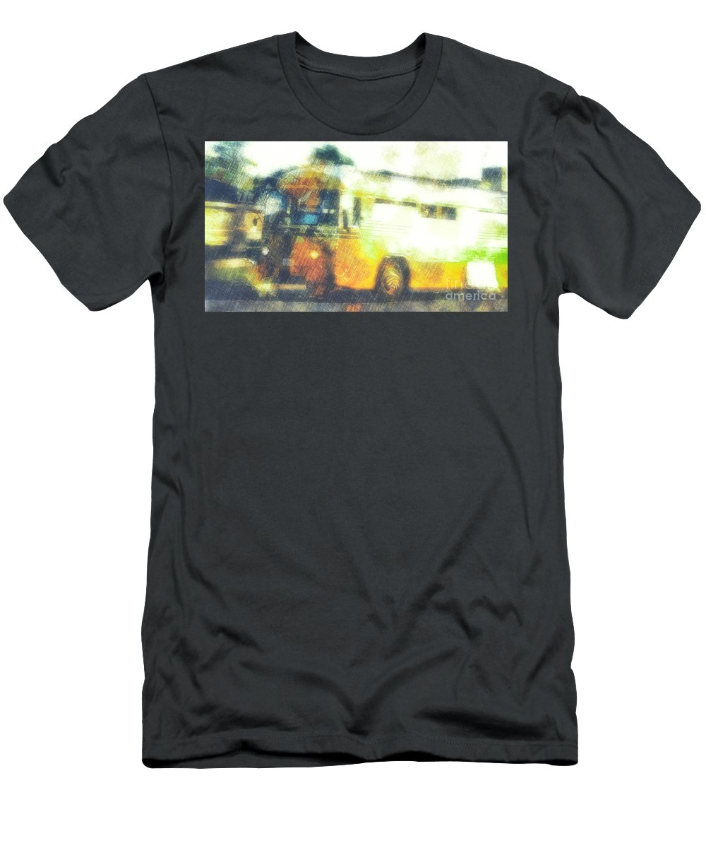 School Bus Men's T-Shirt (Athletic Fit) featuring the digital art School Bus by Davy Cheng