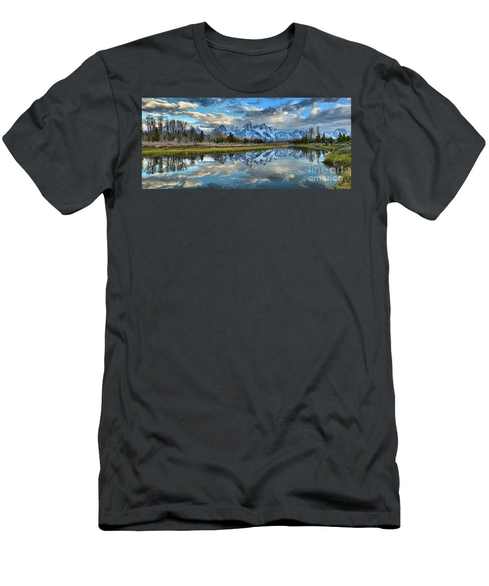 Schwabacher Landing Men's T-Shirt (Athletic Fit) featuring the photograph Schwabacher Spring Clouds by Adam Jewell