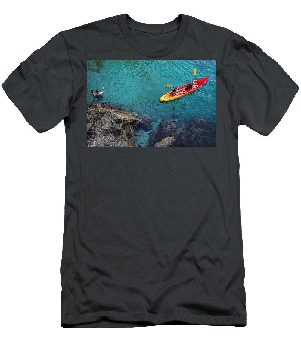 Dubrovnik Men's T-Shirt (Athletic Fit) featuring the photograph Sea Kayaking by Piotr Kuzniar