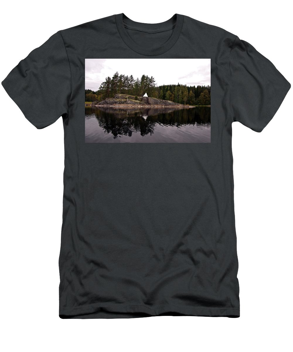 Coastal Men's T-Shirt (Athletic Fit) featuring the photograph Sea Mark On An Islet At Lake Saimaa by Jarmo Honkanen
