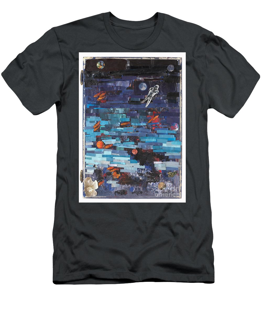 Astronaut Men's T-Shirt (Athletic Fit) featuring the mixed media Sea Space by Jaime Becker
