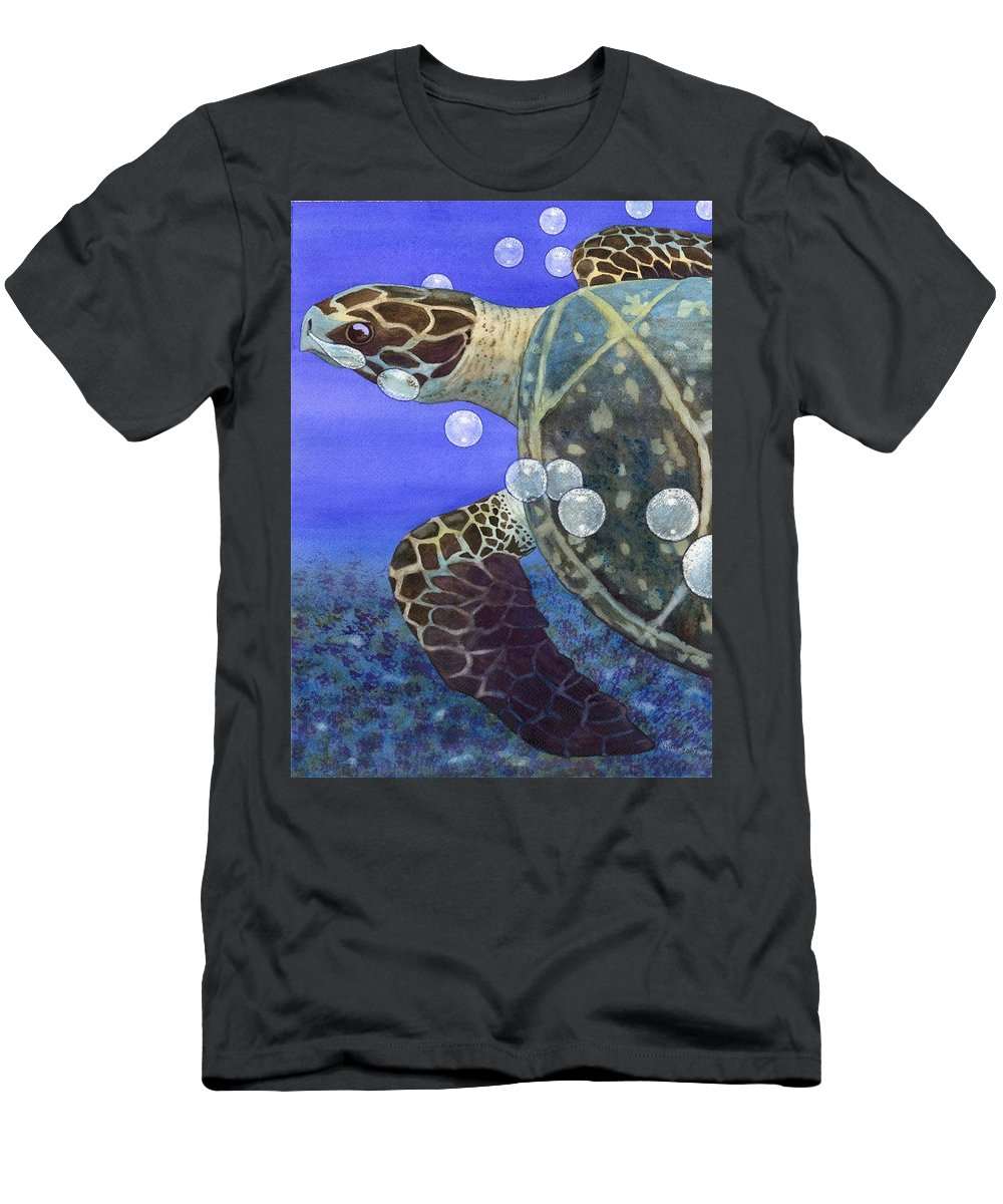 Turtle Men's T-Shirt (Athletic Fit) featuring the painting Sea Turtle by Catherine G McElroy