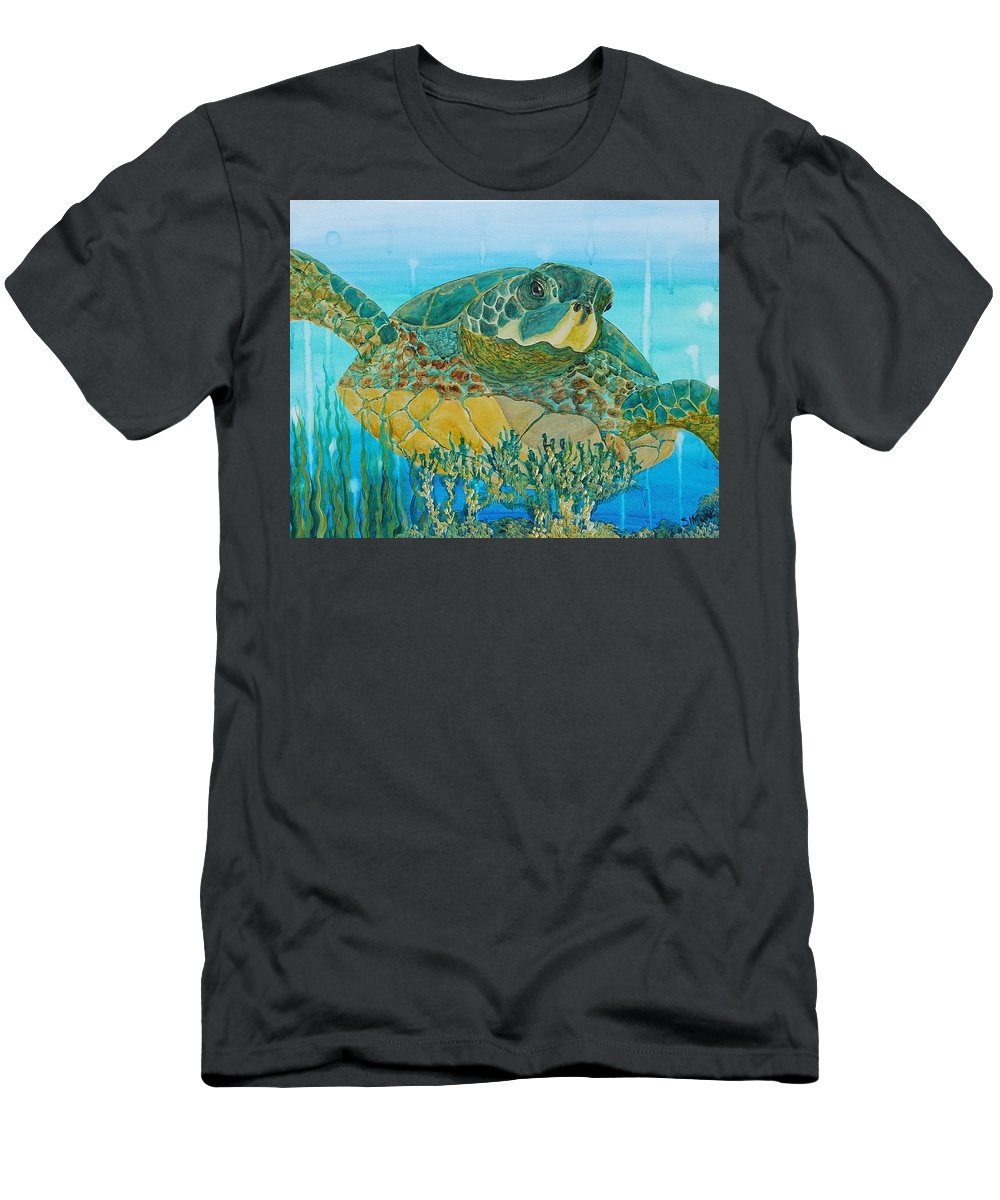 Green Men's T-Shirt (Athletic Fit) featuring the painting Sea Turtle by Simone Germain