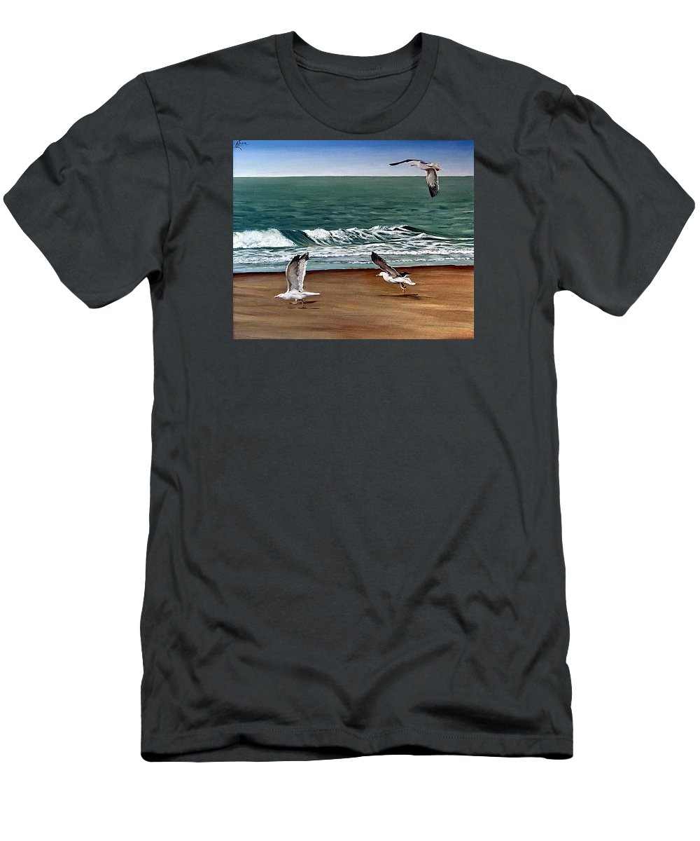 Seascape T-Shirt featuring the painting Seagulls 2 by Natalia Tejera
