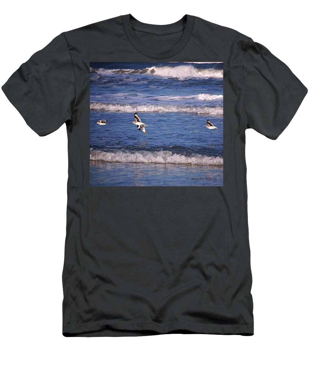 Seagulls Men's T-Shirt (Athletic Fit) featuring the digital art Seagulls Above The Seashore by DigiArt Diaries by Vicky B Fuller