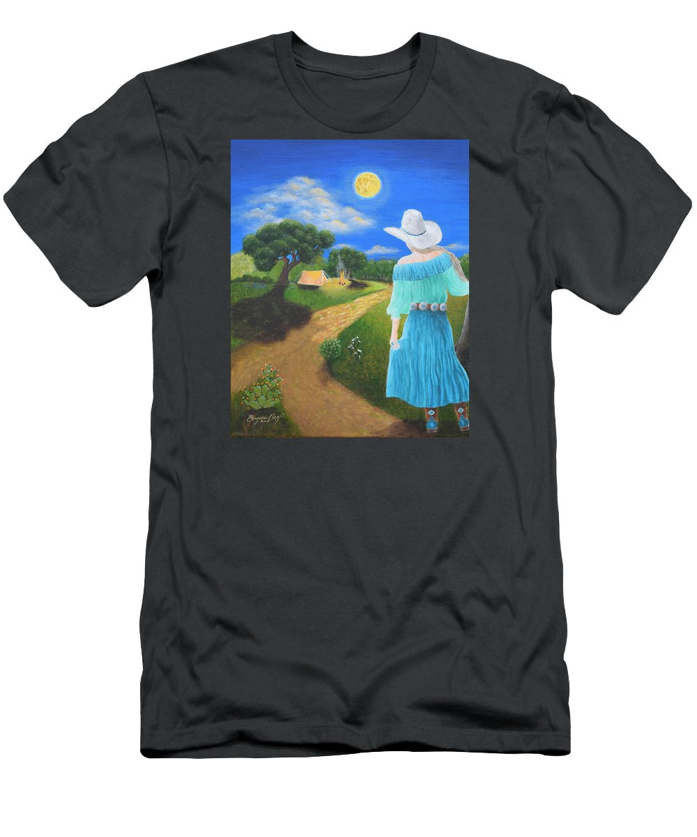 Cowgirl Men's T-Shirt (Athletic Fit) featuring the painting Searching For Her Elusive Cowboy by Belinda Nagy