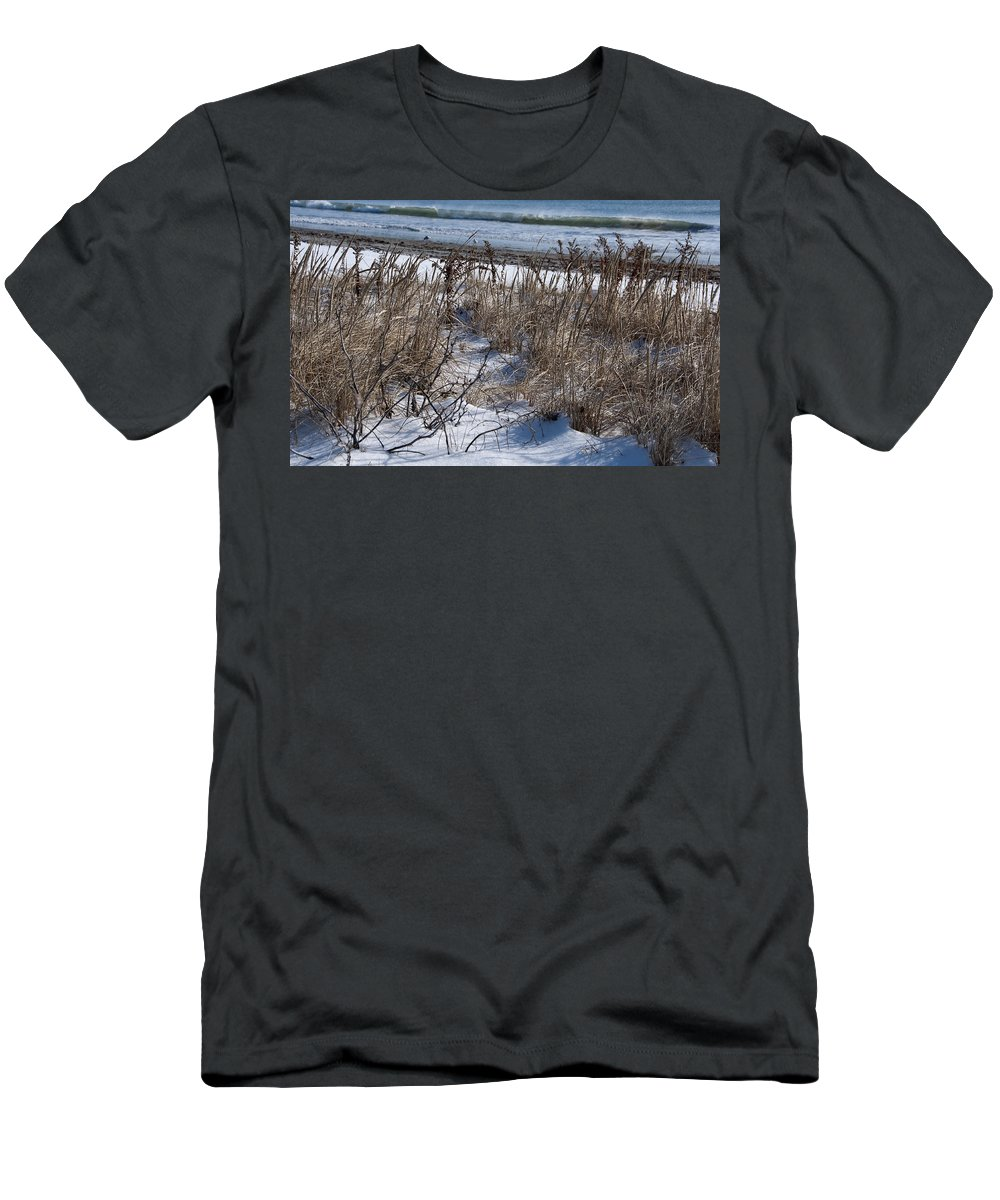 Beach Men's T-Shirt (Athletic Fit) featuring the photograph Seascape In Winter by Steven Natanson