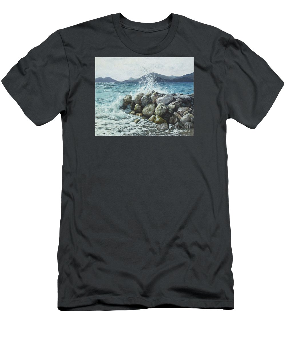 Seaside Men's T-Shirt (Athletic Fit) featuring the painting Seaside by Anna Starkova