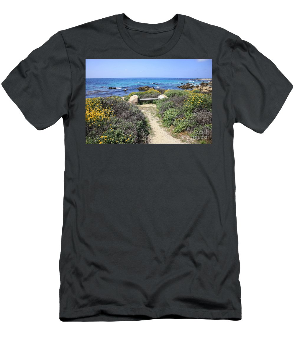 Landscape Men's T-Shirt (Athletic Fit) featuring the photograph Seaside Bench by Carol Groenen
