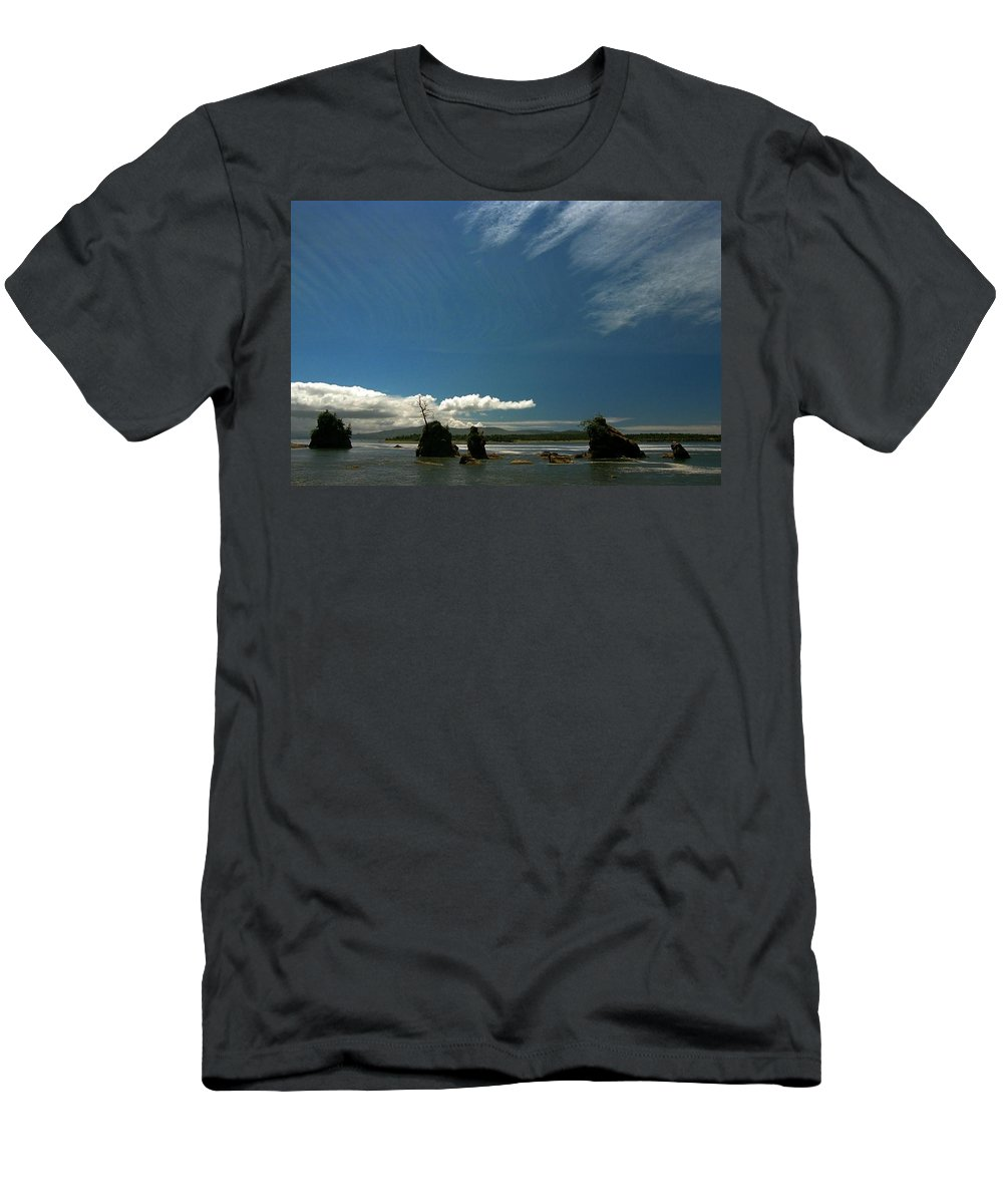 Ocean Men's T-Shirt (Athletic Fit) featuring the photograph Seastacks And Clouds by Spirit Vision Photography