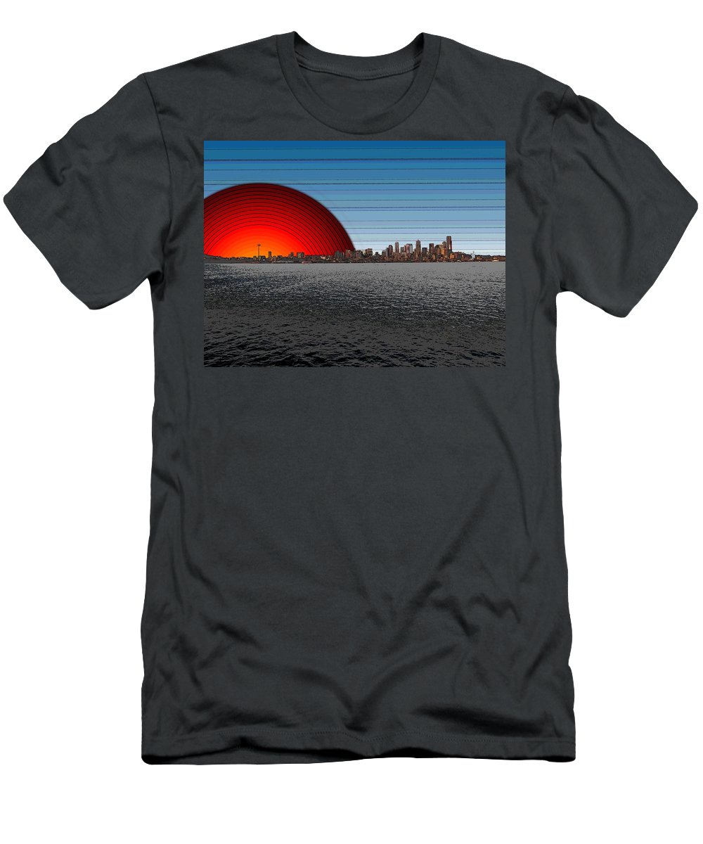 Seattle Men's T-Shirt (Athletic Fit) featuring the digital art Seattle Dawning 2 by Tim Allen