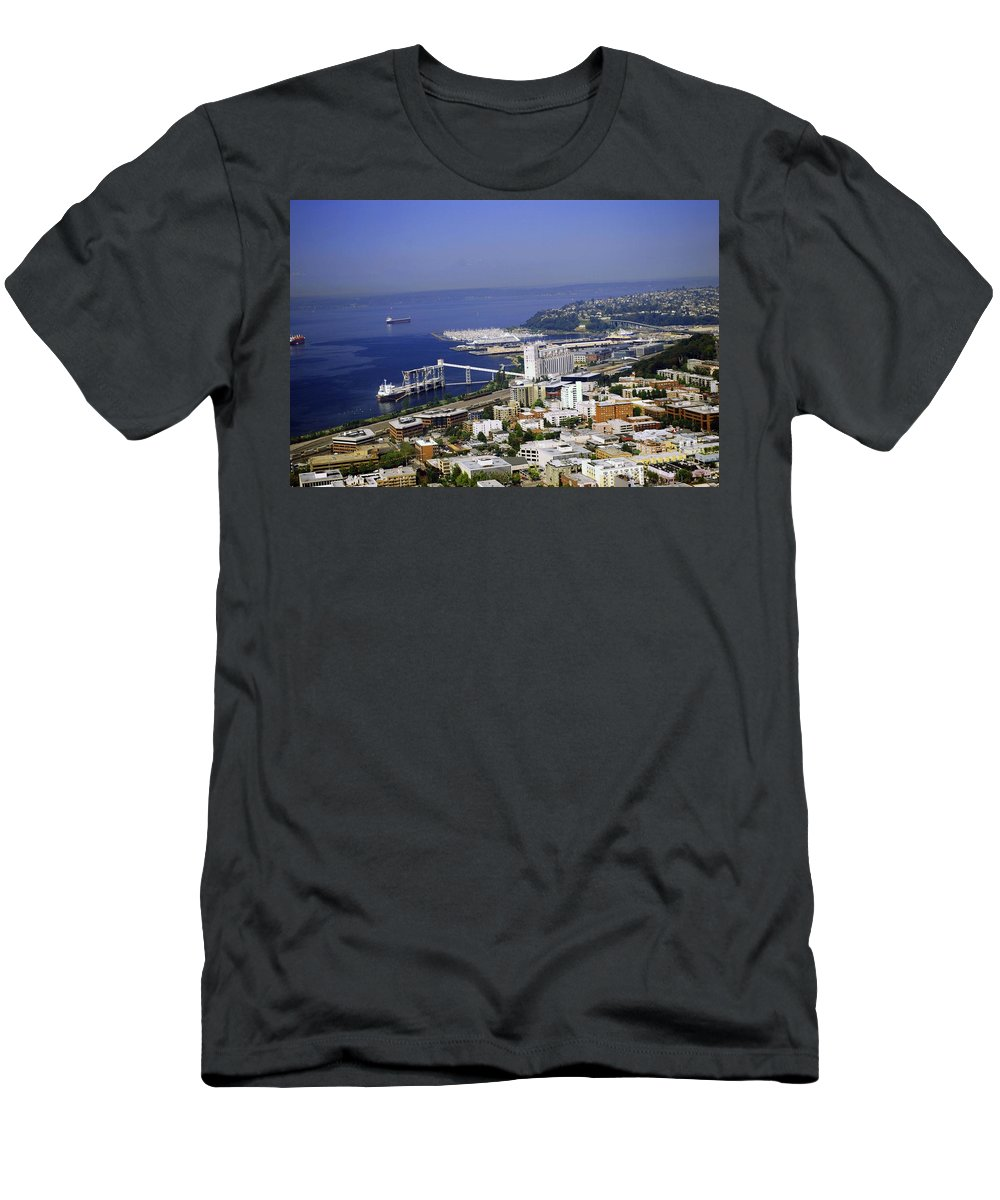 Seattle Men's T-Shirt (Athletic Fit) featuring the photograph Seattle Waterfront by Gary Wonning