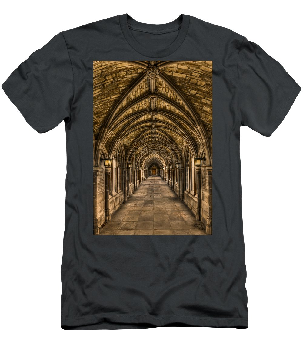 Arch Men's T-Shirt (Athletic Fit) featuring the photograph Seclusion by Evelina Kremsdorf