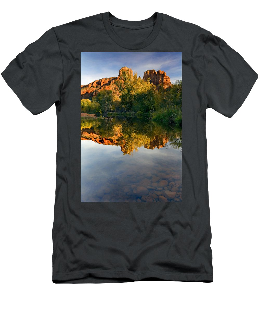 Reflection Men's T-Shirt (Athletic Fit) featuring the photograph Sedona Sunset by Mike Dawson