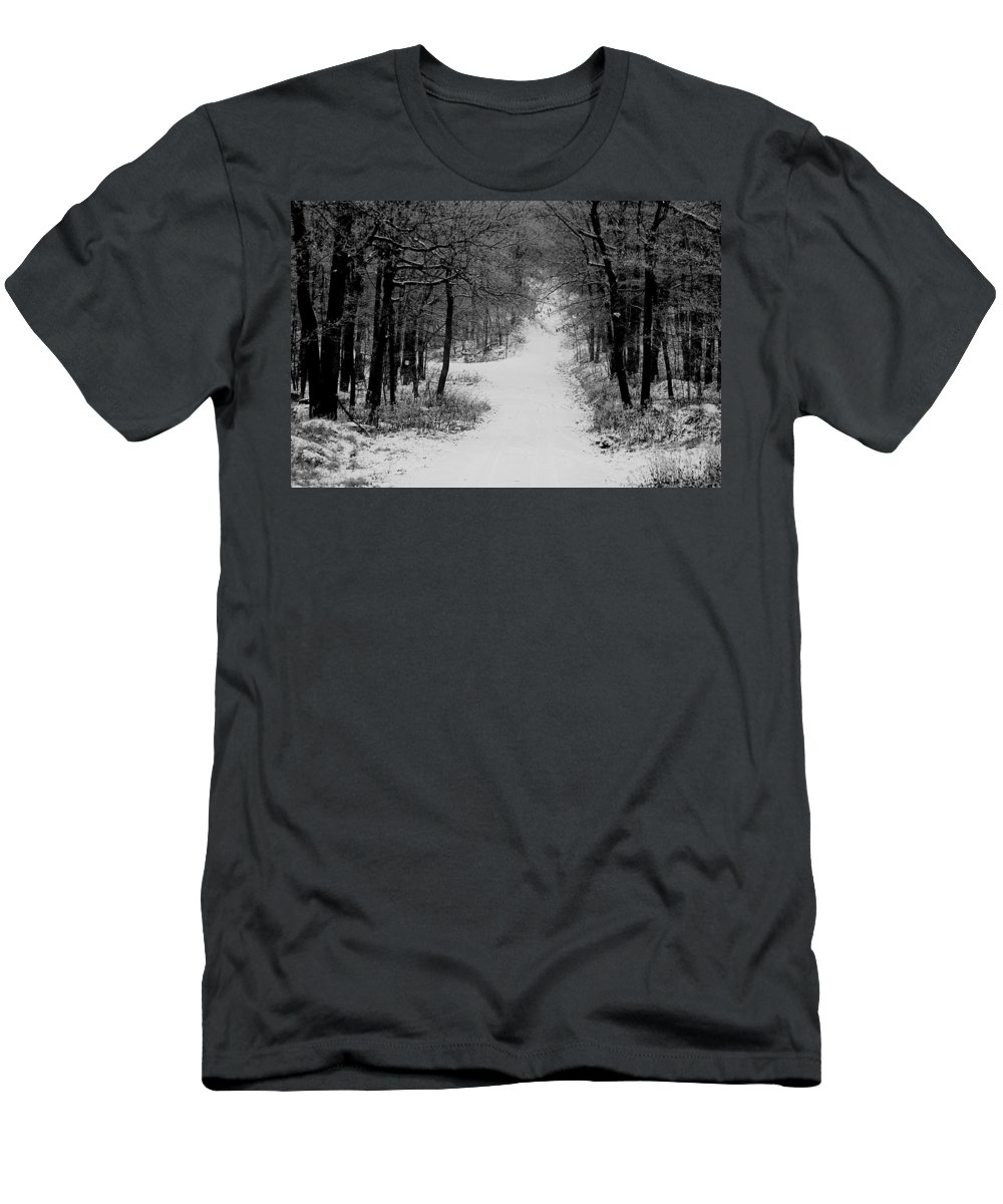 Snow Men's T-Shirt (Athletic Fit) featuring the photograph See Where It Leads. by Jean Macaluso