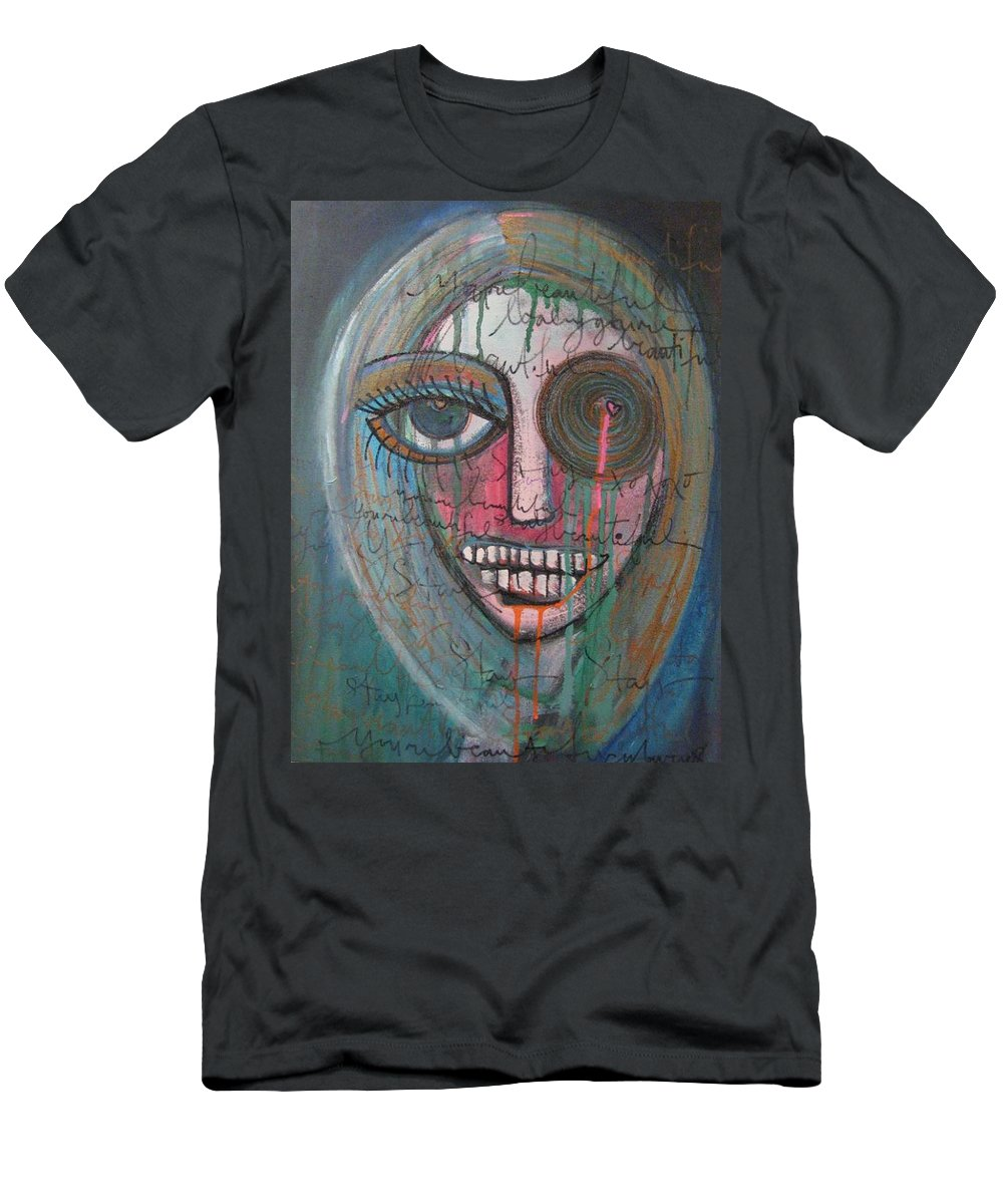 Self Portraits Men's T-Shirt (Athletic Fit) featuring the painting Self Portrait Youre Beautiful by Laurie Maves ART