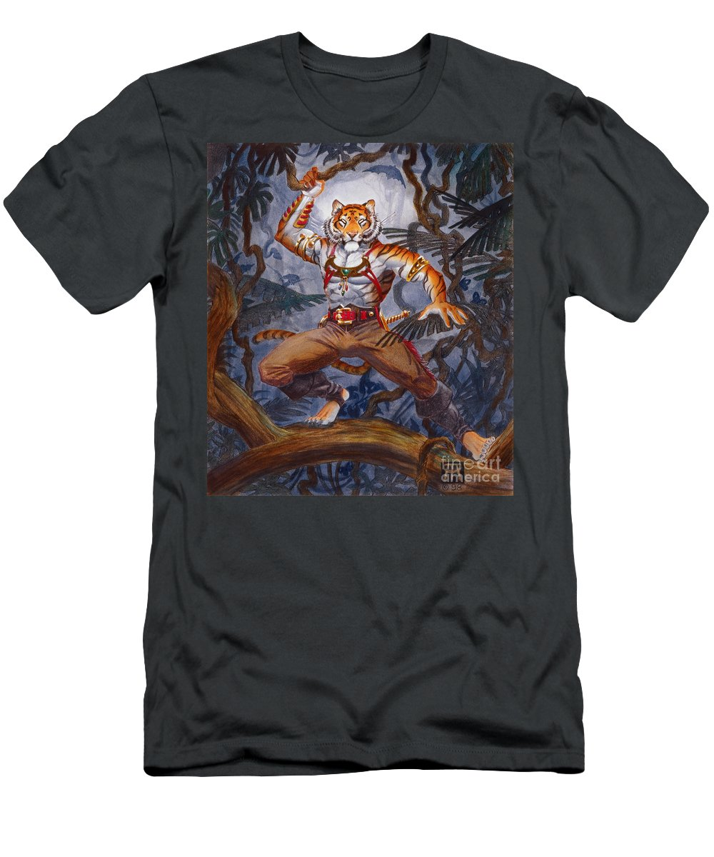 Cat Men's T-Shirt (Athletic Fit) featuring the painting Sense Dark by Melissa A Benson