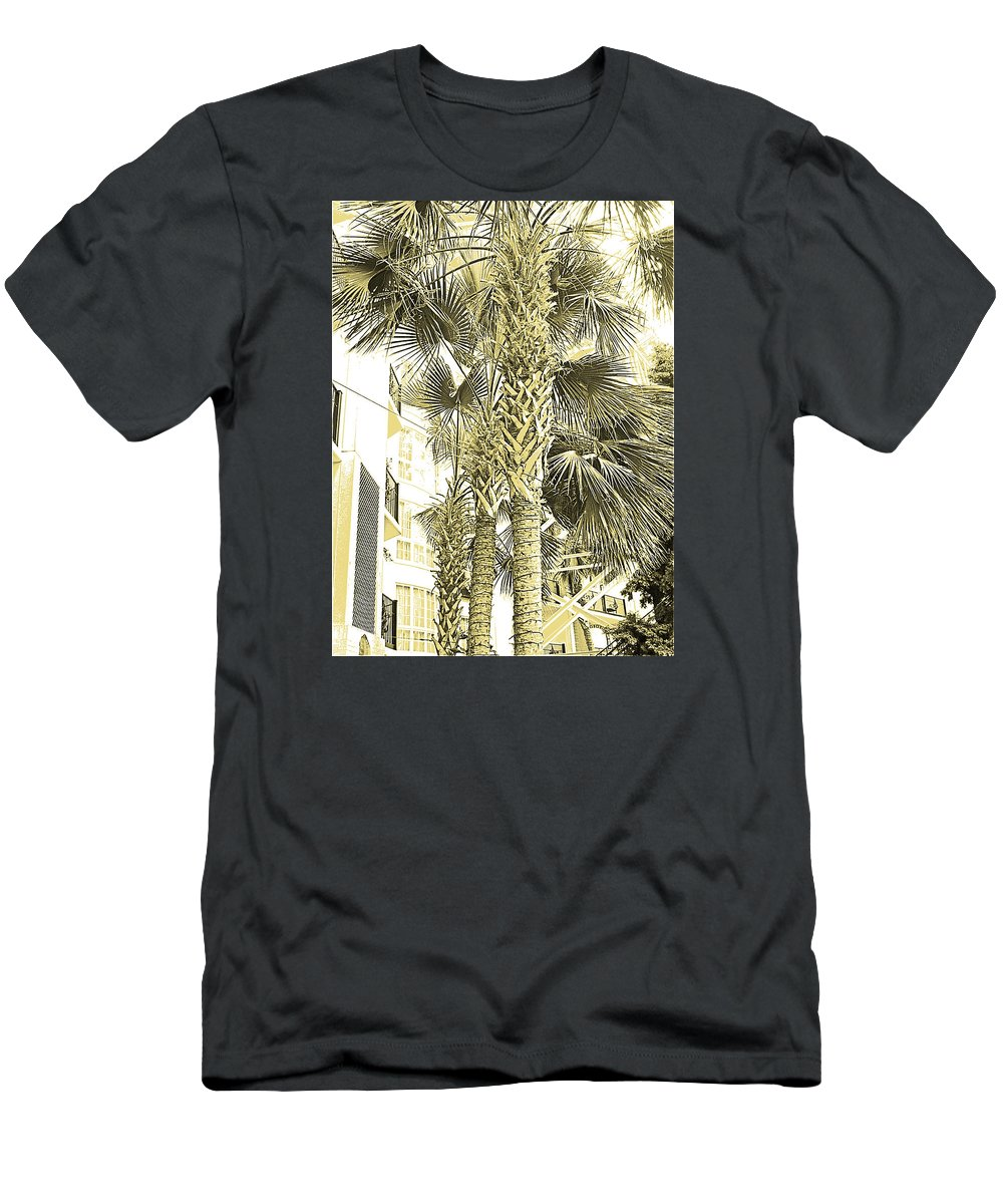 Digital Art Men's T-Shirt (Athletic Fit) featuring the photograph Sepia Toned Pen And Ink Palm Trees by Marian Bell