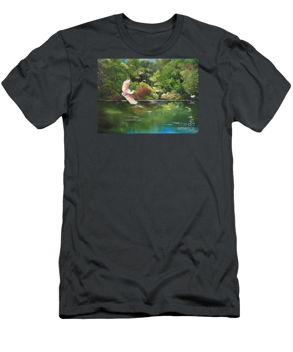 Heron Men's T-Shirt (Athletic Fit) featuring the painting Serenity by Carol Sweetwood