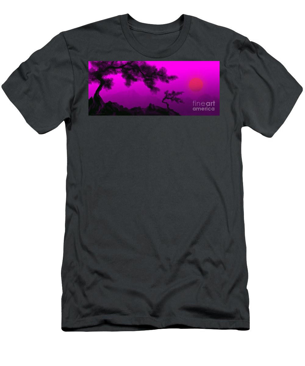 Japanese; Sunset; Mountains; Trees; Rising; Sun; Contemporary; Purple; Pink;sunrise; Sunset Men's T-Shirt (Athletic Fit) featuring the painting Serenity by James Christopher Hill