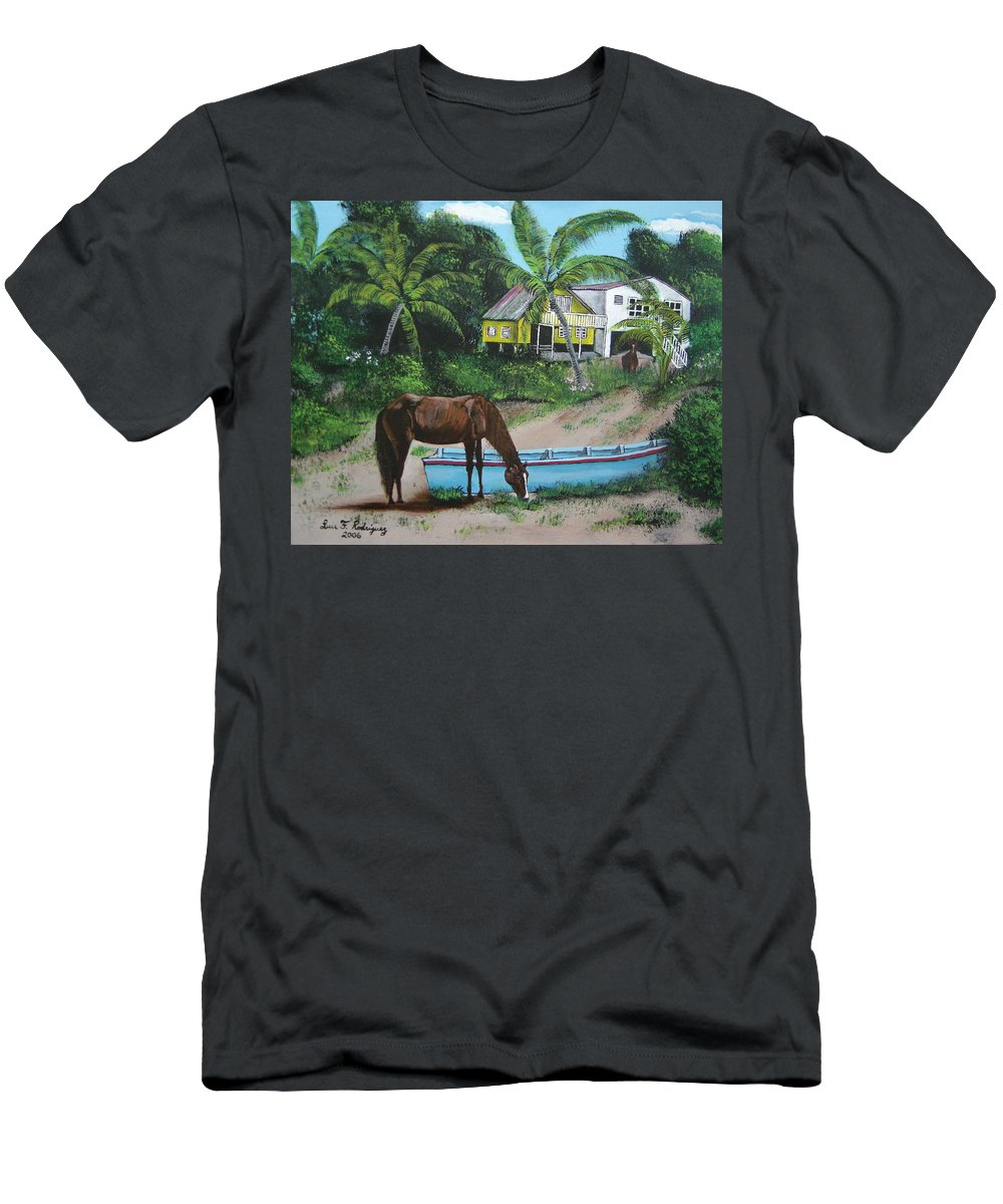 Aguadilla Men's T-Shirt (Athletic Fit) featuring the painting Serenity by Luis F Rodriguez