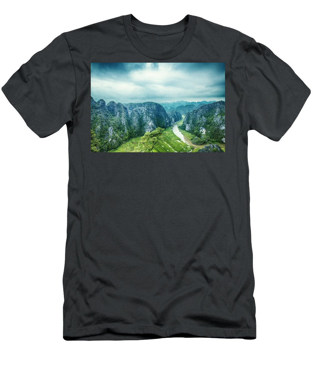 Landscape Men's T-Shirt (Athletic Fit) featuring the photograph Serenity by Terry Nguyen