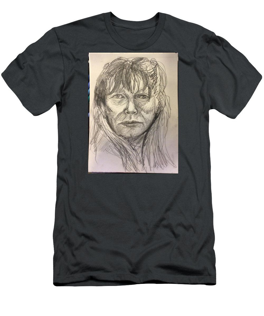 Portrait / Pencil Sketch / Black And White / Strat Shot Men's T-Shirt (Athletic Fit) featuring the drawing Serif Sketch by Foxey McCleary