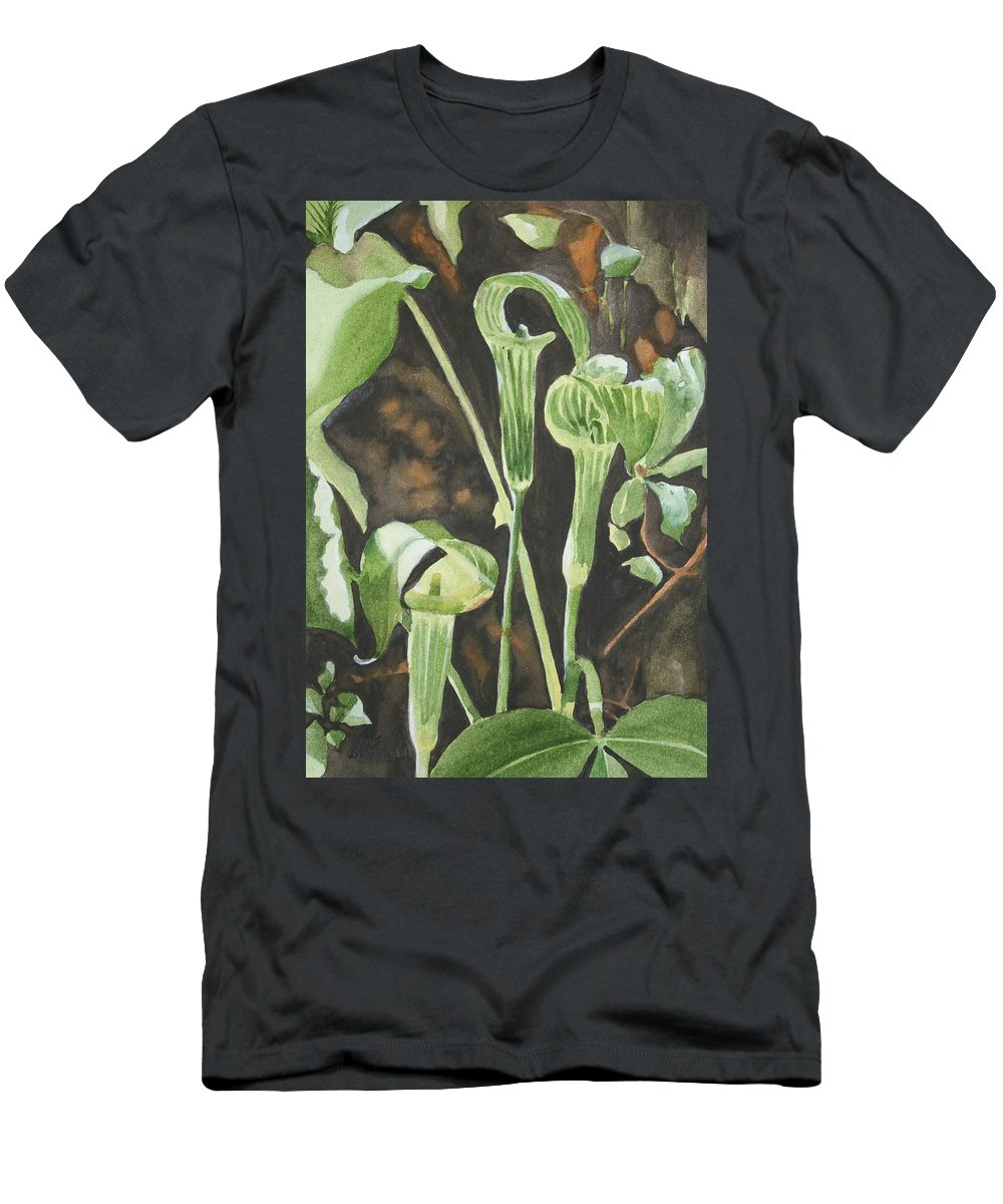 Woods Men's T-Shirt (Athletic Fit) featuring the painting Sermon In The Woods by Jean Blackmer