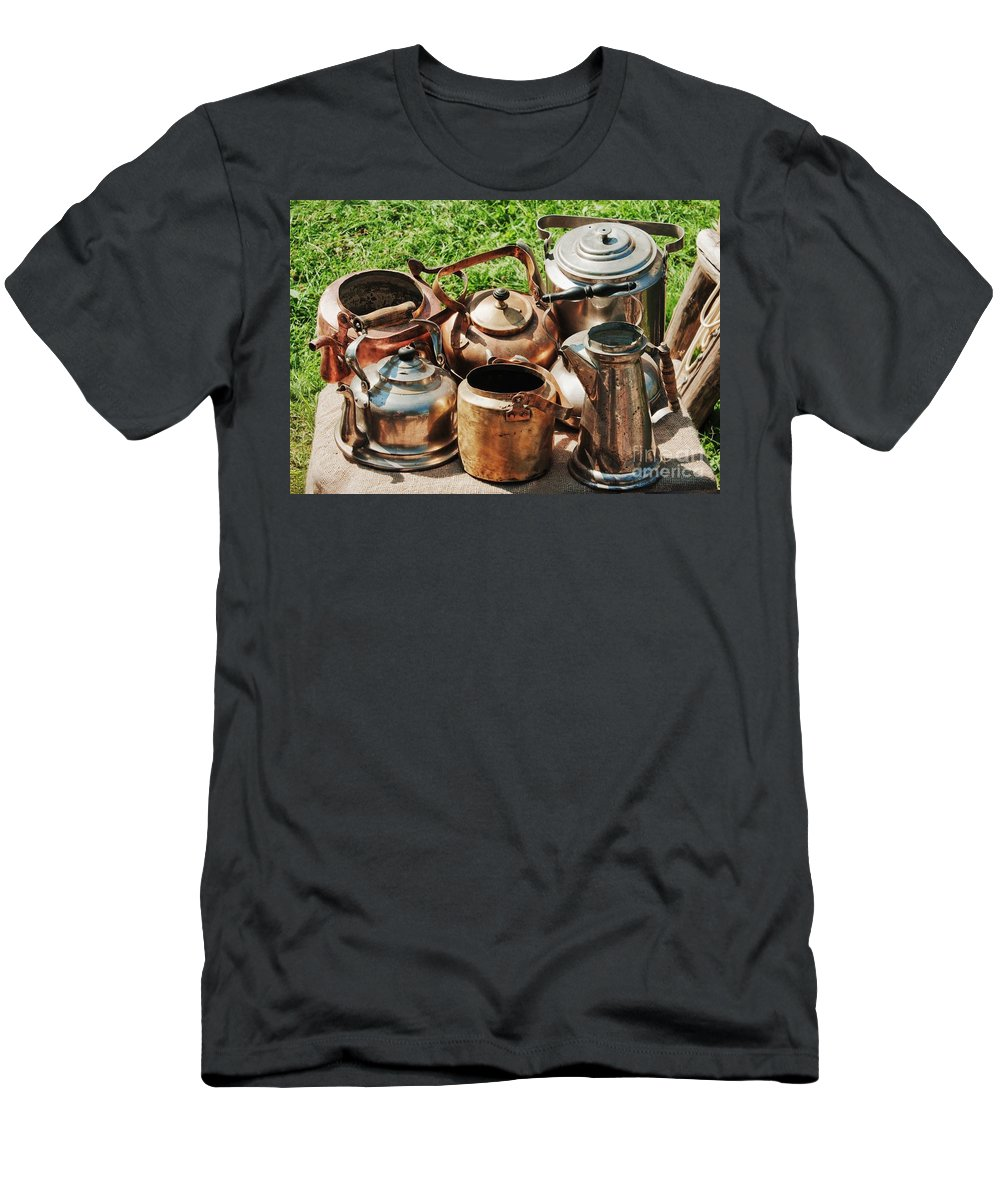 Ancient Men's T-Shirt (Athletic Fit) featuring the photograph Set Of Ancient Teapots by Vadzim Kandratsenkau