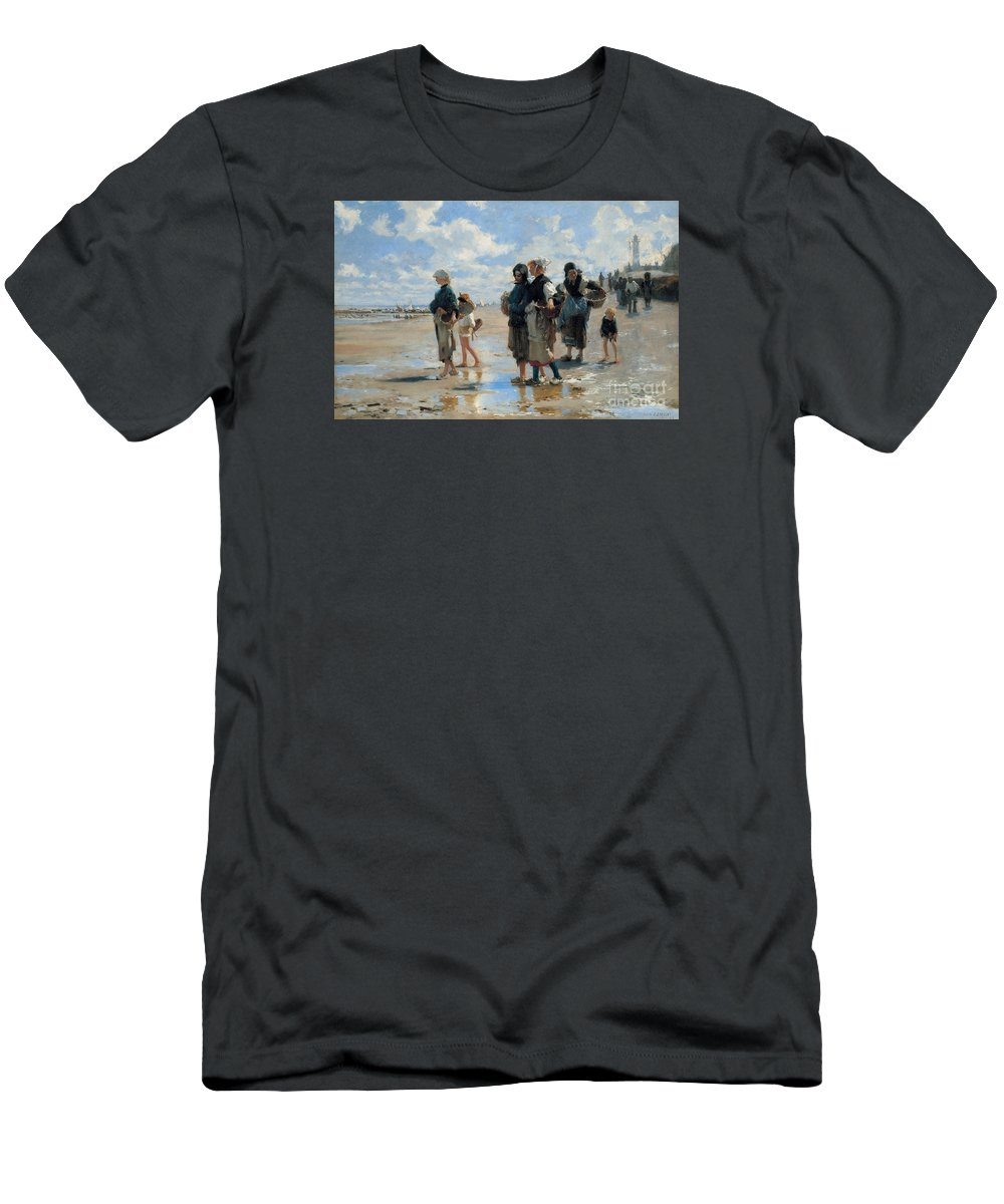 Sargent Men's T-Shirt (Athletic Fit) featuring the painting Setting Out To Fish by John Singer Sargent