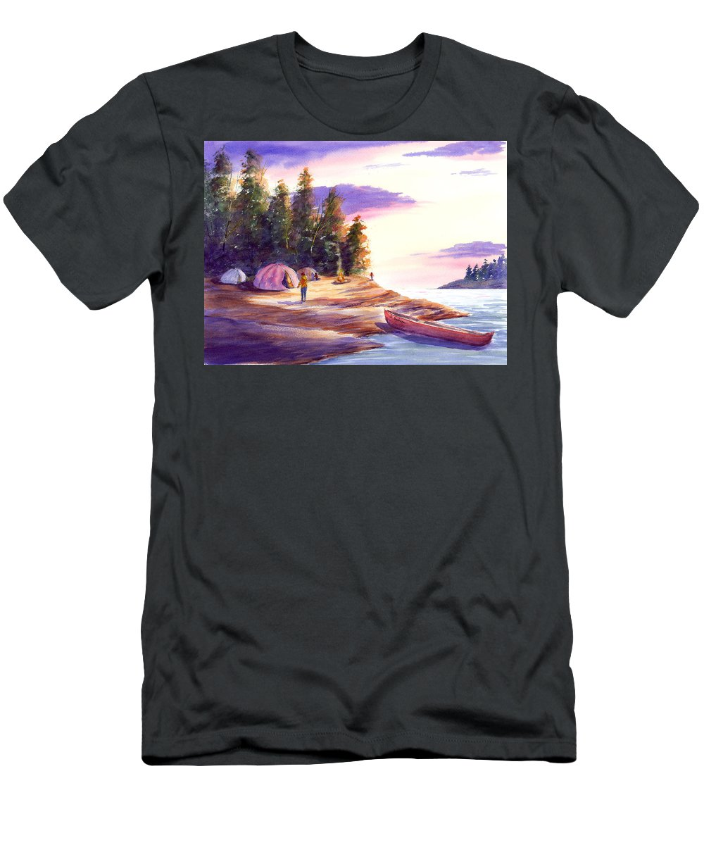 Nature Men's T-Shirt (Athletic Fit) featuring the painting Settling Into Camp by Darrell Dubose