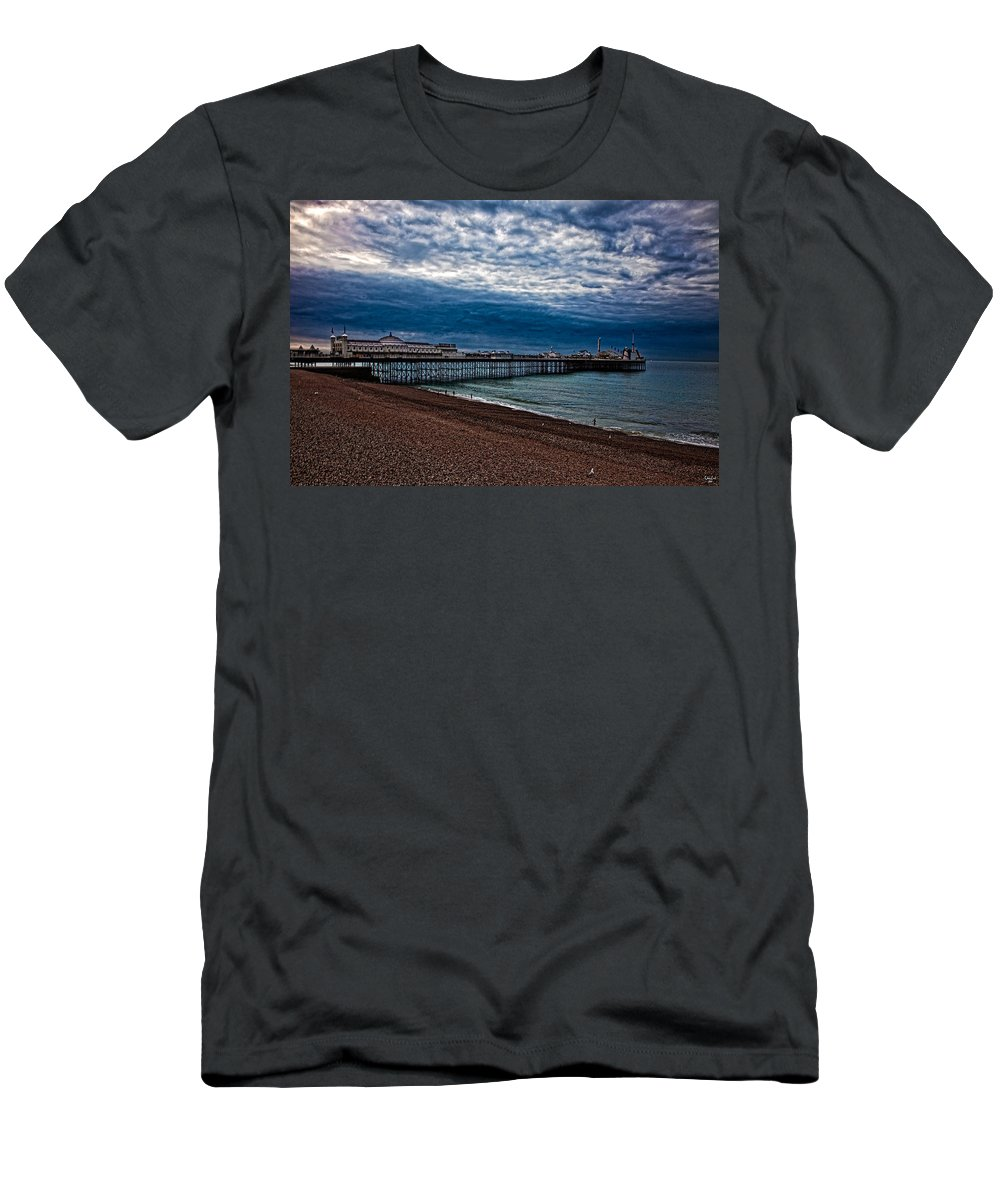 Brighton Pier Men's T-Shirt (Athletic Fit) featuring the photograph Seven Am On Brighton Seafront by Chris Lord