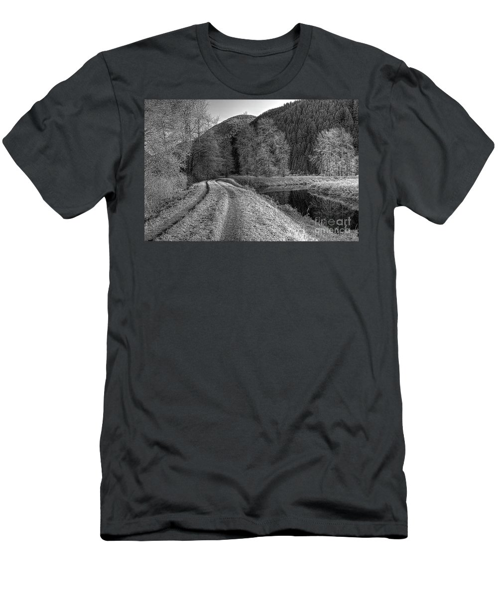 Shady Trail Men's T-Shirt (Athletic Fit) featuring the photograph Shady Trail Tonemapped by Sharon Talson