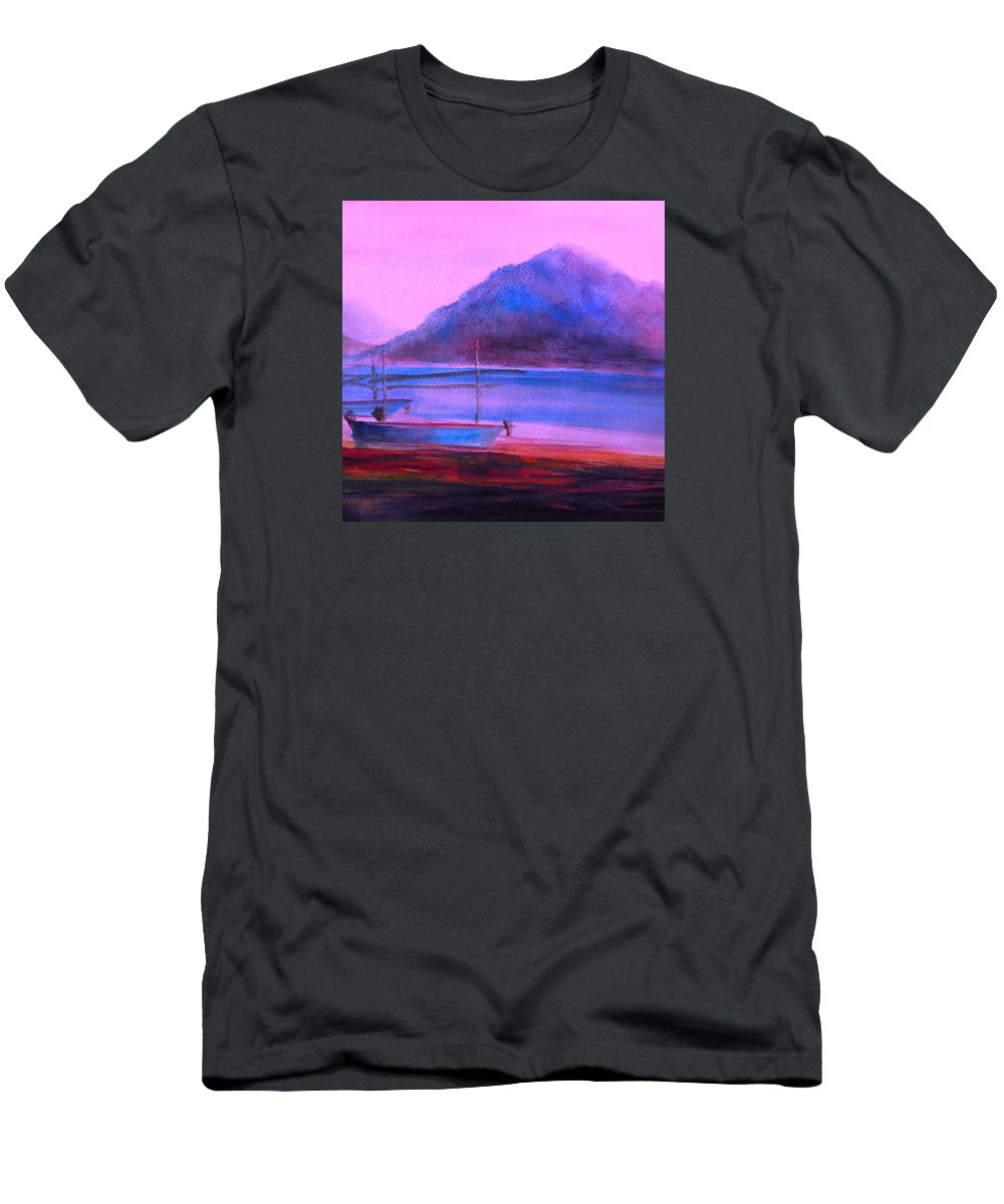 Landscape Men's T-Shirt (Athletic Fit) featuring the painting Shallow 07 by Pusita Gibbs