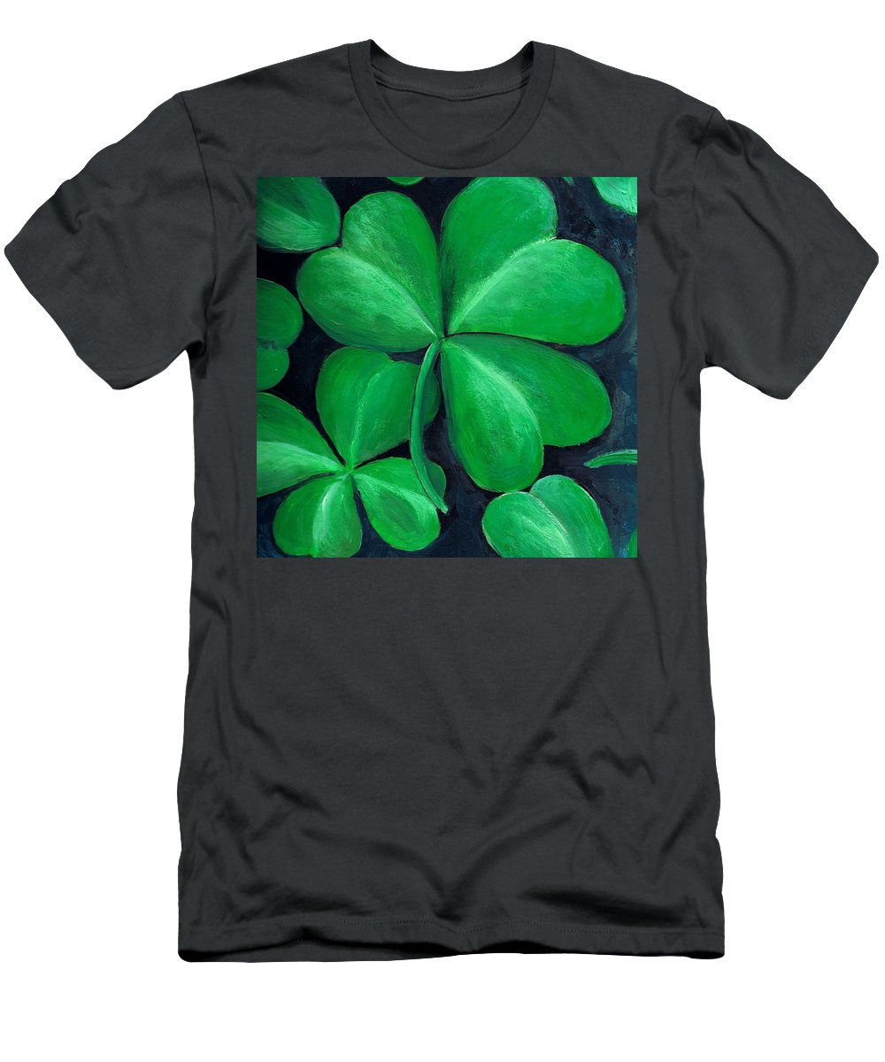 Shamrock Men's T-Shirt (Athletic Fit) featuring the painting Shamrocks by Nancy Mueller