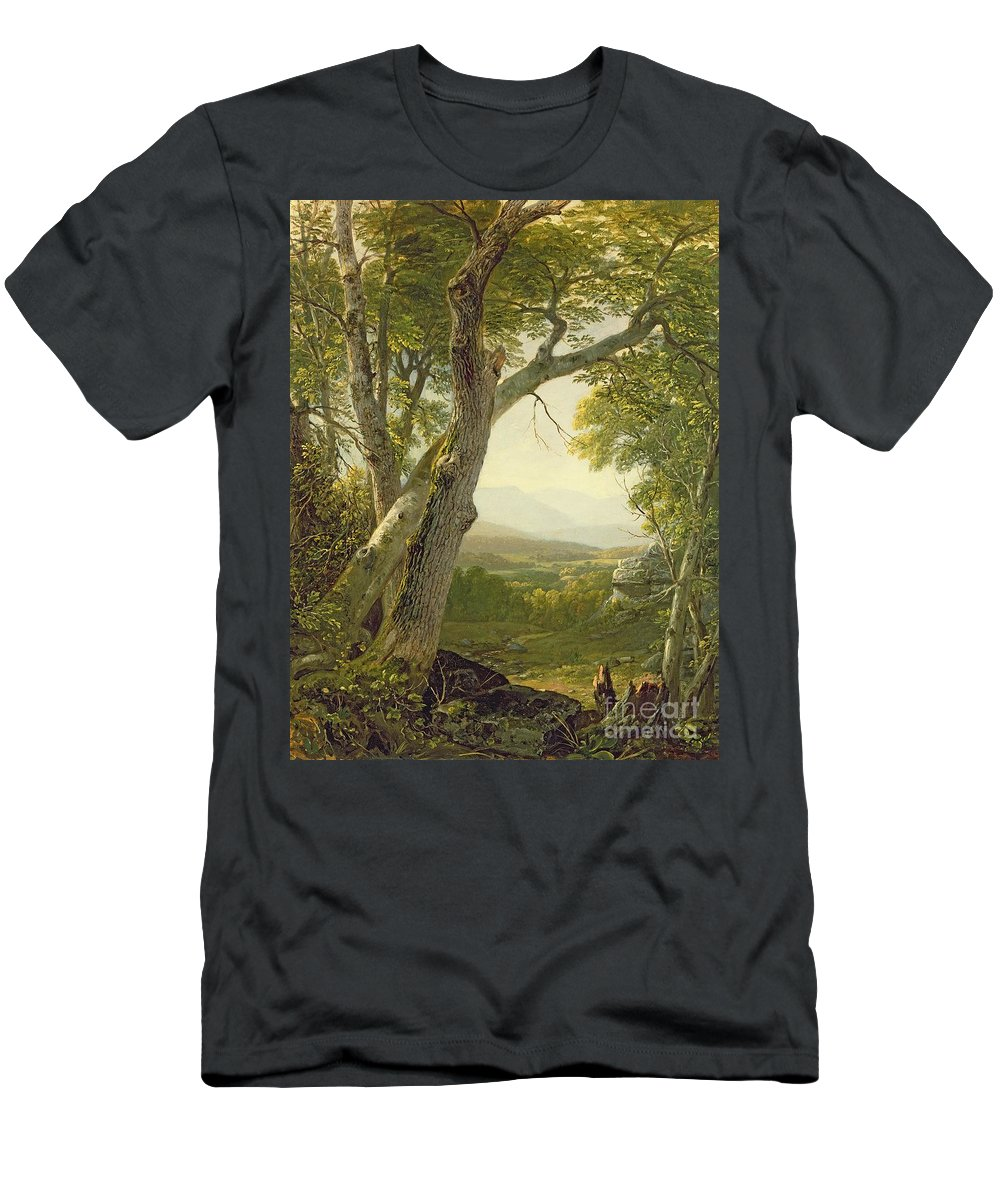 American Landscape; View; Romantic; Hudson River School; Mountains Men's T-Shirt (Athletic Fit) featuring the painting Shandaken Ridge - Kingston by Asher Brown Durand