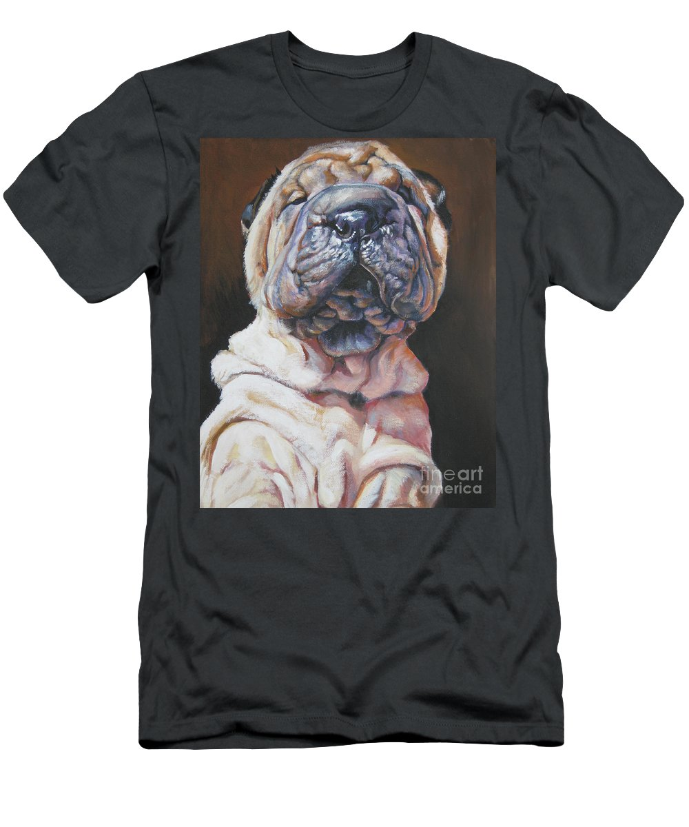 Dog Men's T-Shirt (Athletic Fit) featuring the painting Shar Pei Pup by Lee Ann Shepard